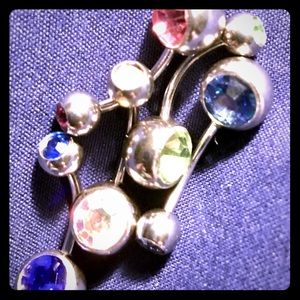 5 different 14g,Jeweled,Belly Button Rings